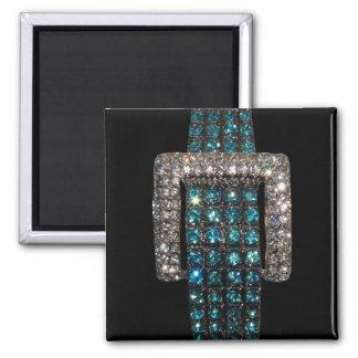 Emeralds and Diamonds Art Bling Bling Magnet