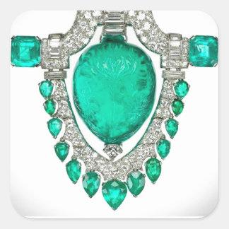 Emeralds Diamonds Vintage Costume Jewelry Square Sticker