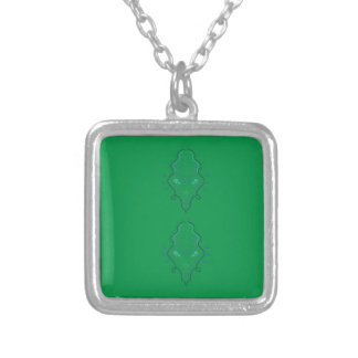 Emeralds green design silver plated necklace