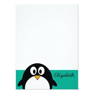 émeraude mignonne et noir de pingouin de bande carton d'invitation  13,97 cm x 19,05 cm
