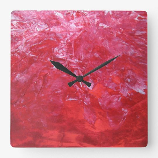 Emerge Red Carnation Floral White Abstract Art Wall Clock