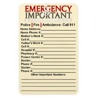 "Emergency and Important phone numbers 4""x6"" magnet"