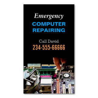 Emergency Computer Repairing Maintenance PC Master Business Card Magnet