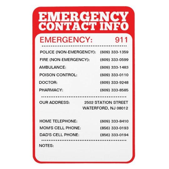 emergency contact information list magnet. Black Bedroom Furniture Sets. Home Design Ideas