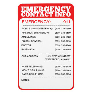 emergency number template - Template