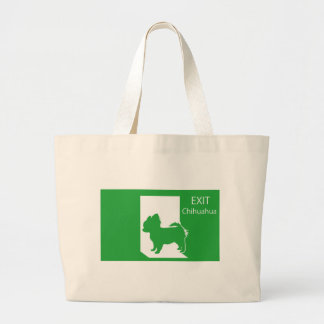 Emergency exit chihuahua T shirt Large Tote Bag