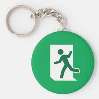 Emergency exit sign basic round button keychain
