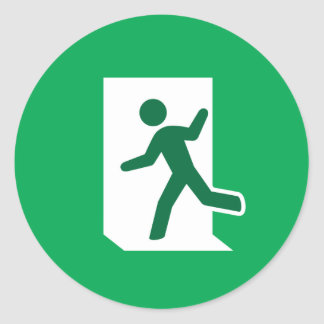 Emergency exit sign classic round sticker