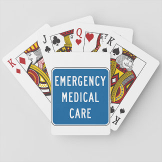 Emergency Medical Care Road Sign Playing Cards
