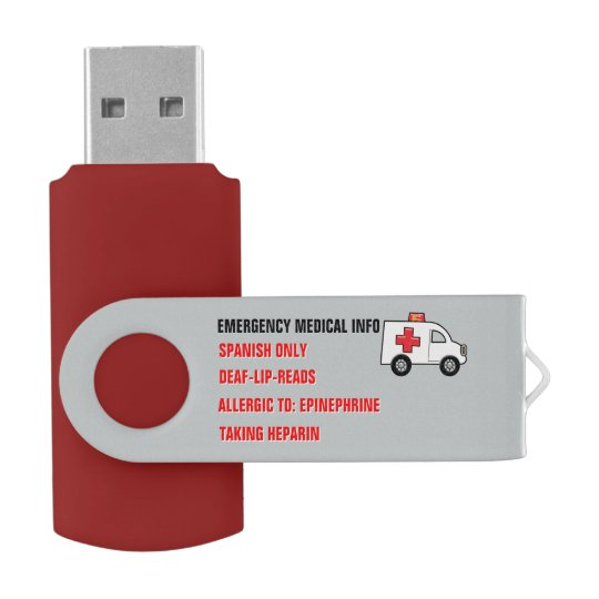 Emergency Medical Info on Hand (Personalized) Swivel USB 2.0 Flash Drive