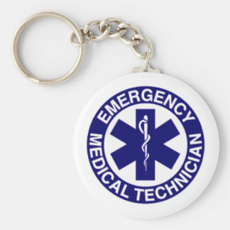EMERGENCY MEDICAL TECHNICIANS EMT BASIC ROUND BUTTON KEYCHAIN