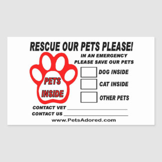 Emergency Pet Rescue Window Stickers