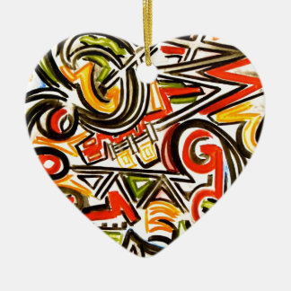 Emerging Butterfly - Abstract Art Handpainted Ceramic Heart Ornament