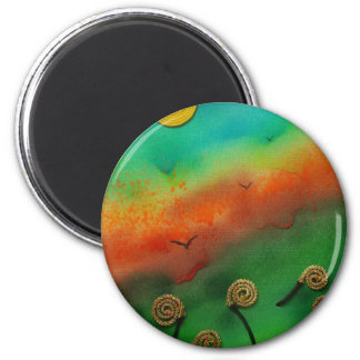Emerging Snail flowers 2 Inch Round Magnet