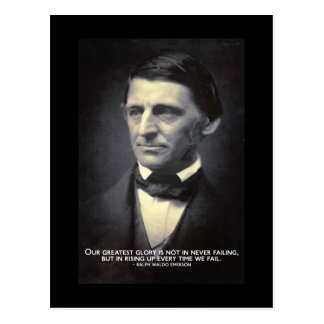 Emerson - Greatest glory - failure quote postcard