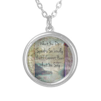 Emerson inspirational quote about life silver plated necklace