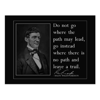 Emerson '...leave a trail' Quote Postcard