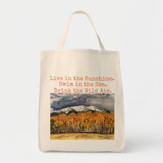 Emerson Quote Landscape Art Grocery Tote
