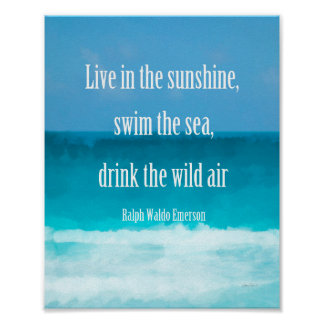Emerson quote on beach art poster wall art decor