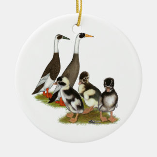 Emery Penciled Runner Duck Family Ceramic Ornament