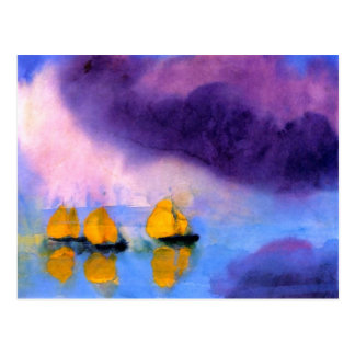 Emil Nolde - Sea with Violet Clouds And Sailboats Postcard