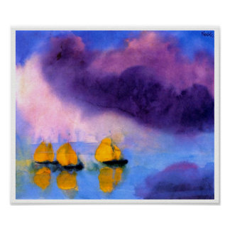 Emil Nolde - Sea with Violet Clouds And Sailboats Poster