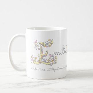 Emilia letter E name meaning monogram mug