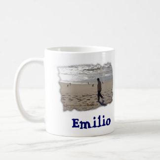 Emilio on the beach-edge, Emilio Coffee Mug