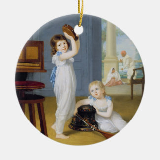 Emily and George Mason, c.1794-95 (oil on canvas) Round Ceramic Ornament