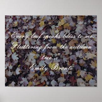 Emily Brontë Autumn Quote Poster