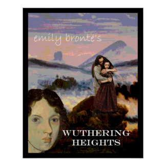 Emily Bronte with Heathcliff and Cathy Poster