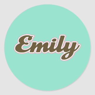 Emily Brown and Teal Round Sticker