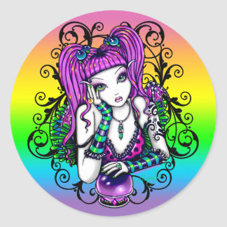 """Emily"" Celestial Rainbow Crystal Ball Faery Classic Round Sticker"