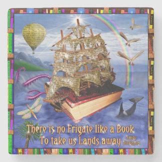 Emily Dickinson Poem Quote Book Ship Ocean Stone Coaster