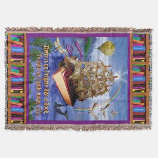 Emily Dickinson Poem Quote Book Ship Ocean Throw Blanket