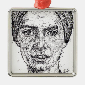 emily dickinson portrait metal ornament
