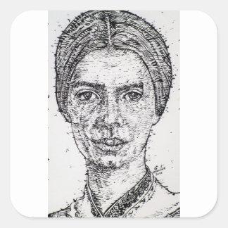 emily dickinson portrait square sticker