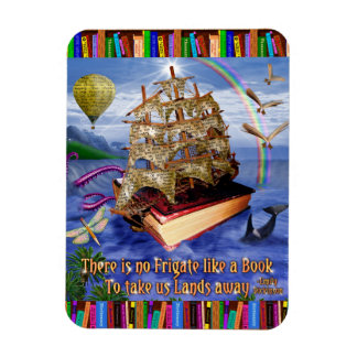 Emily Dickinson Quote Book Ship Whimsical Readers Rectangular Photo Magnet