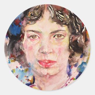 emily dickinson - watercolor portrait.2 classic round sticker