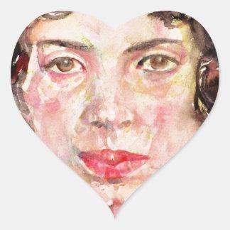 emily dickinson - watercolor portrait.2 heart sticker