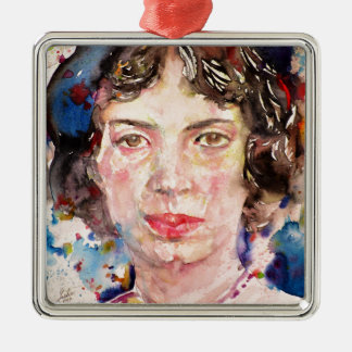 emily dickinson - watercolor portrait.2 metal ornament