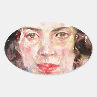 emily dickinson - watercolor portrait.2 oval sticker