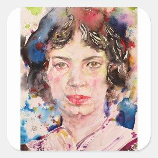 emily dickinson - watercolor portrait.2 square sticker