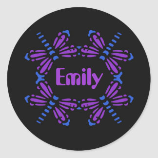 Emily, dragonflies in blue & purple on black round sticker