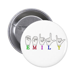 EMILY FINGERSPELLED NAME ASL 2 INCH ROUND BUTTON