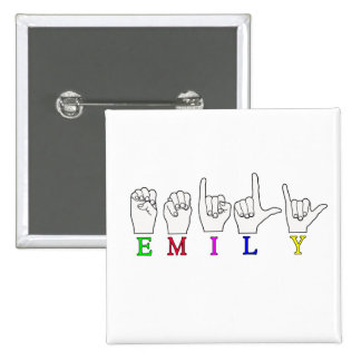 EMILY FINGERSPELLED NAME ASL 2 INCH SQUARE BUTTON