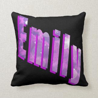 Emily, Girls Name Dimensional Logo Black Cushion