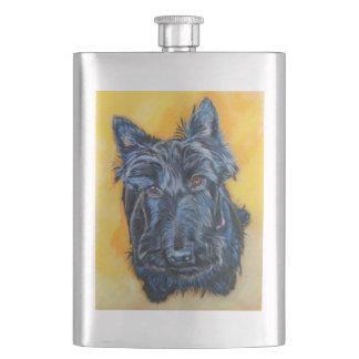 'Emily in Blue' Scottie art Flask