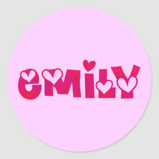 Emily in Hearts Classic Round Sticker