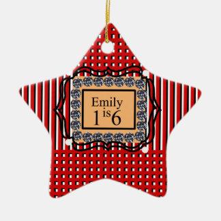 Emily is 16_sweet_diamond_monogram_red_design ceramic star ornament